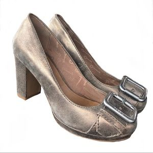 Fossil metallic pewter buckle block heels, size 9